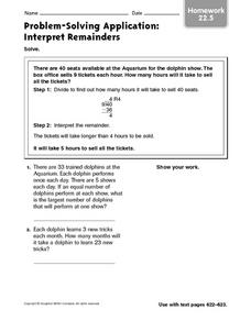 Problem Solving Application: Interpret Remainders Worksheet