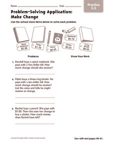 Problem-Solving Application: Make Change: Practice Worksheet