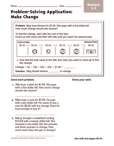 Problem-Solving Application: Make Change: Reteach Worksheet