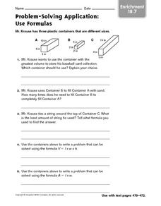 Problem-Solving Application: Use Formulas, Enrichment Worksheet