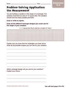 Problem Solving Application: Use Measurement: Enrichment Worksheet