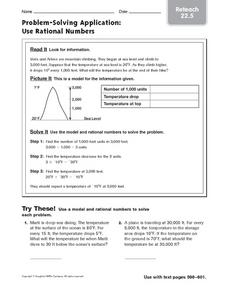 Problem-Solving Application: Use Rational Numbers Worksheet