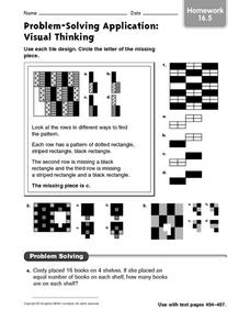 Problem-Solving Application: Visual Thinking: Homework Worksheet