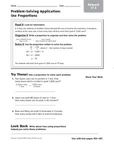 Problem-Solving Applications: Use Proportions Worksheet
