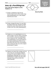 Problem Solving: Area of a Parallelogram Worksheet