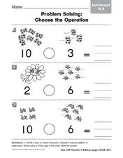 Problem Solving: Choose an Operation Worksheet