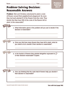 Problem Solving Decision: Reasonable Answers: Problem Solving Worksheet