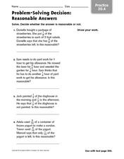 Problem Solving Decision: Reasonable Answers Worksheet