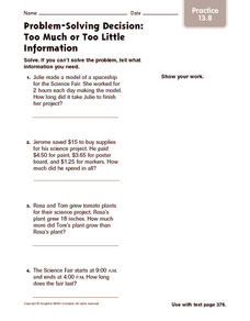 Problem-Solving Decision: Too Much or Too Little Information: Practice Worksheet