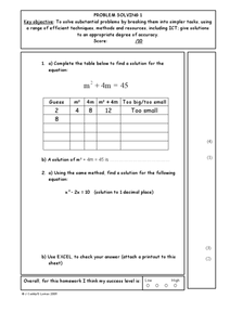 Problem Solving I Worksheet