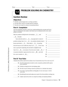 Problem Solving in Chemistry Worksheet