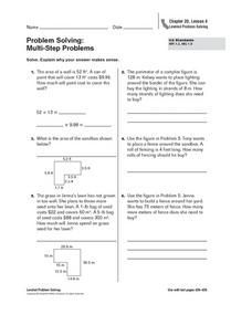 Problem Solving:  Multi-Step Problems Worksheet