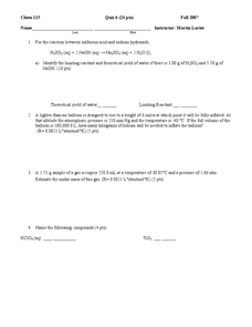 Problem Solving Quiz Worksheet