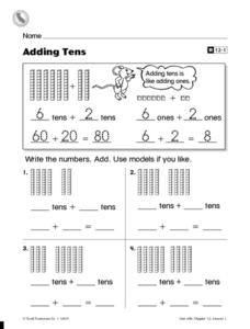 Problem-Solving Strategy: Adding Tens Worksheet