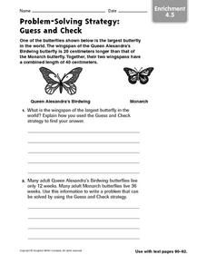 Problem-Solving Strategy: Guess and Check Enrichment 4.5 Worksheet