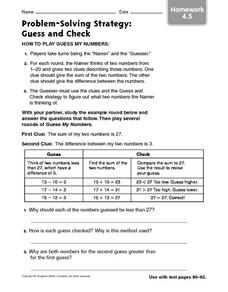 Worksheets Problem Solving Strategies Worksheet problem solving strategy guess and check homework 4 5 3rd 4th 5
