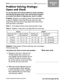 Problem-Solving Strategy: Guess and Check Reteach 4.5 Worksheet