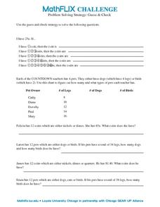 Problem Solving Strategy: Guess & Check Worksheet