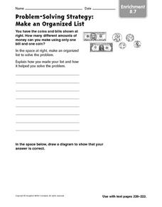 Problem-Solving Strategy: Make an Organized List: Enrichment Worksheet