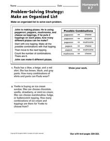 Problem-Solving Strategy: Make an Organized List: Homework Worksheet