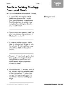 Problem Solving Strategy Practice: Guess and Check Worksheet