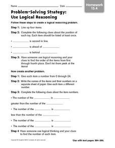 math worksheet : problem solving strategy use logical reasoning homework 13 4 4th  : Math Problem Solving Strategies Worksheets