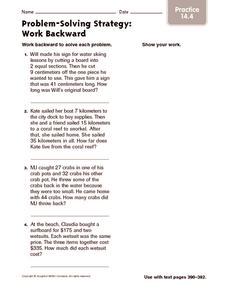 Problem-Solving Strategy: Work Backward: Practice Worksheet