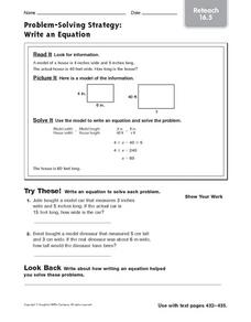 Problem-Solving Strategy - Write an Equation Worksheet