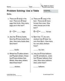 Problem Solving - Use a Table Worksheet