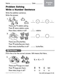 Problem Solving: Write a Number Sentence (Picture Clues) Worksheet