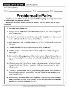 Problematic Pairs: Homophones Worksheet