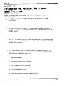 Problems on Market Structure and Business Worksheet