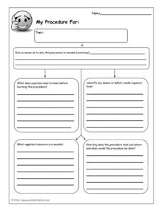 Procedural Writing: Graphic Organizer 5th - 6th Grade Worksheet ...