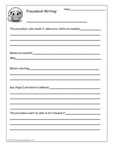 Procedural Writing Worksheet