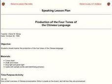 Production of the Four Tones of the Chinese Language Lesson Plan