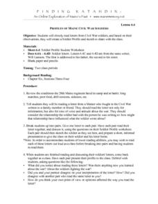 Profiles of Maine Civil War Soliders Lesson Plan