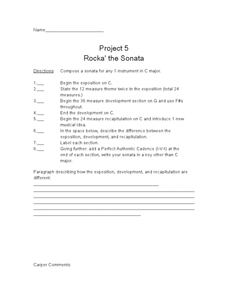 Project 5 Rocka' the Sonata Worksheet