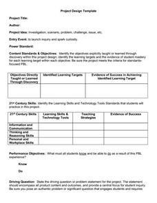 Project Based Learning Template 1st - 12th Grade ...