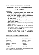 Promotional Leaflet for a European Country Worksheet
