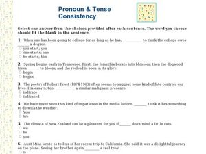 pronoun and tense consistency 6th 7th grade worksheet lesson planet. Black Bedroom Furniture Sets. Home Design Ideas