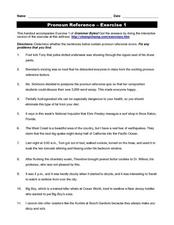 Pronoun Reference exercise 1 Worksheet