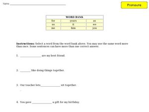 Pronoun Word Bank Activity Worksheet