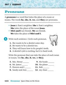 Pronouns: he, she, it, we, and they Worksheet