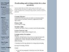 Proofreading and Revising Articles for a Class Newsletter Lesson Plan