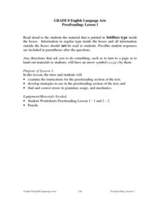 Proofreading: lesson 1 Lesson Plan