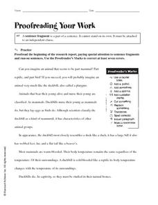Proofreading Your Work Worksheet