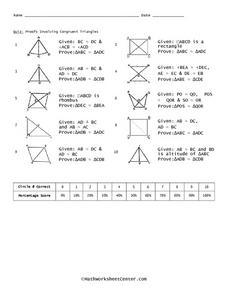 Proofs Involving Congruent Angles 11th - 12th Grade Worksheet ...