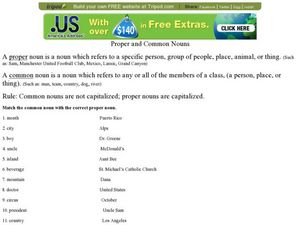 Proper and Common Nouns Worksheet