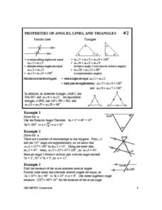 Properties of Angles, Lines, and Triangles Worksheet
