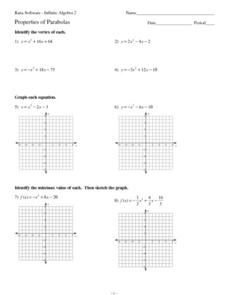 Graphing Parabolas Worksheet - graphing parabolas worksheet y x-1 ...